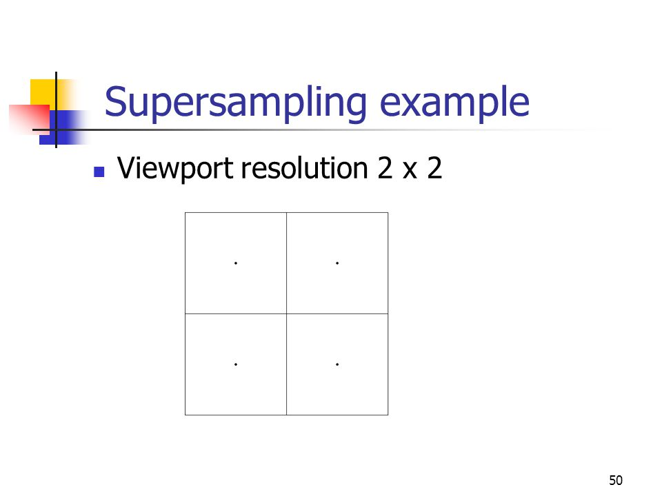 50 Supersampling example Viewport resolution 2 x 2