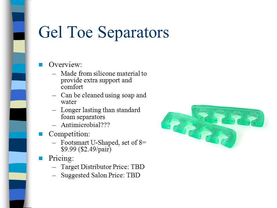 Gel Toe Separators Overview: –Made from silicone material to provide extra support and comfort –Can be cleaned using soap and water –Longer lasting than standard foam separators –Antimicrobial .
