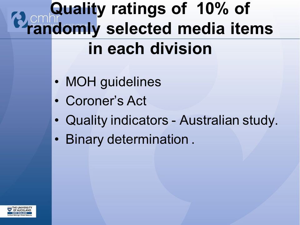 Quality ratings of 10% of randomly selected media items in each division MOH guidelines Coroner's Act Quality indicators - Australian study.