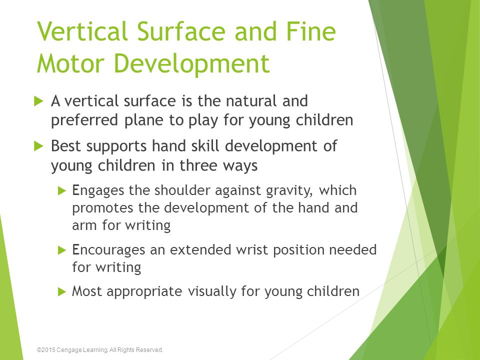 Vertical Surface and Fine Motor Development  A vertical surface is the natural and preferred plane to play for young children  Best supports hand sk