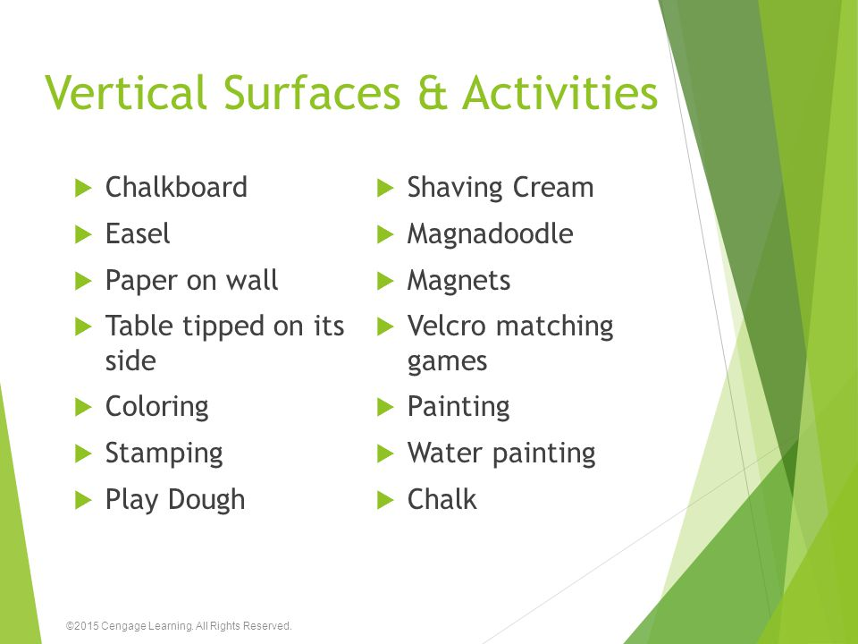 Vertical Surfaces & Activities  Chalkboard  Easel  Paper on wall  Table tipped on its side  Coloring  Stamping  Play Dough  Shaving Cream  Ma