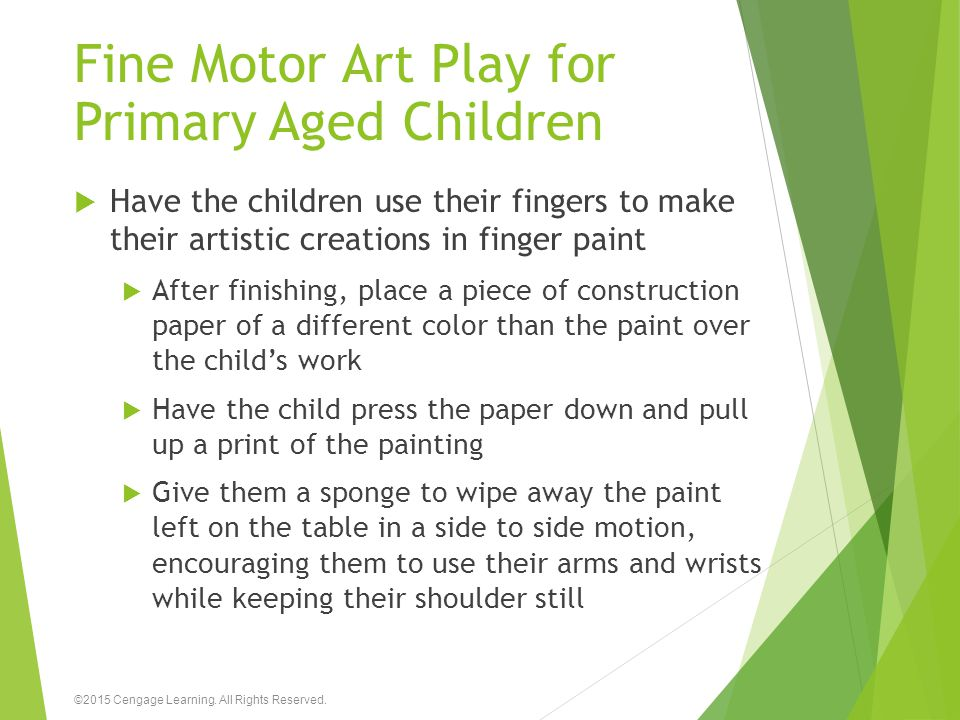 Fine Motor Art Play for Primary Aged Children  Have the children use their fingers to make their artistic creations in finger paint  After finishing
