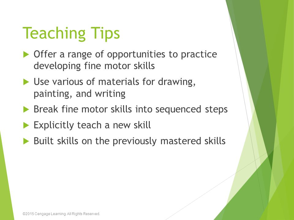 Teaching Tips  Offer a range of opportunities to practice developing fine motor skills  Use various of materials for drawing, painting, and writing