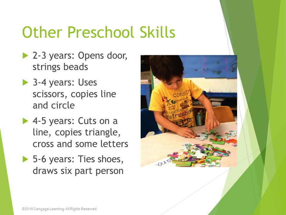 Other Preschool Skills  2-3 years: Opens door, strings beads  3-4 years: Uses scissors, copies line and circle  4-5 years: Cuts on a line, copies t