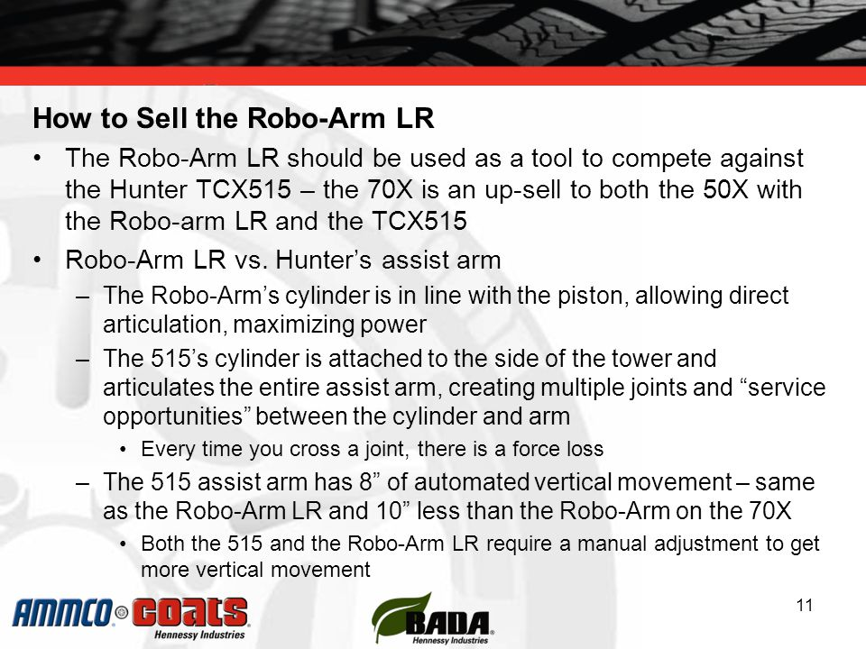 How to Sell the Robo-Arm LR The Robo-Arm LR should be used as a tool to compete against the Hunter TCX515 – the 70X is an up-sell to both the 50X with the Robo-arm LR and the TCX515 Robo-Arm LR vs.