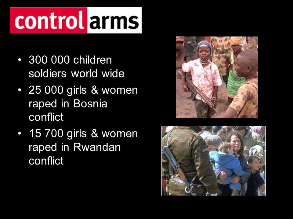 300 000 children soldiers world wide 25 000 girls & women raped in Bosnia conflict 15 700 girls & women raped in Rwandan conflict