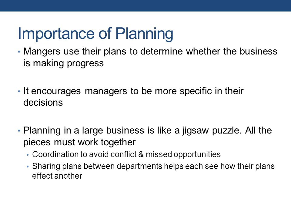 Importance of Planning Mangers use their plans to determine whether the business is making progress It encourages managers to be more specific in their decisions Planning in a large business is like a jigsaw puzzle.