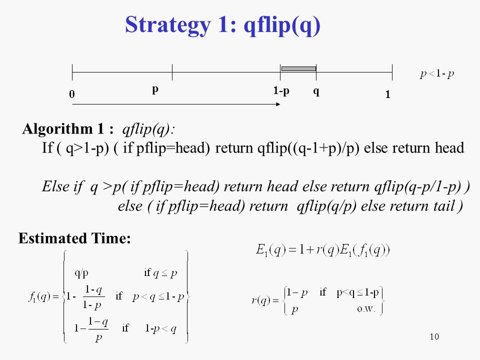 10 Strategy 1: qflip(q) Estimated Time: p q 01 Algorithm 1 : qflip(q): If ( q>1-p) ( if pflip=head) return qflip((q-1+p)/p) else return head Else if q