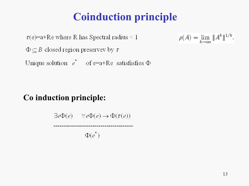 13 Coinduction principle Co induction principle: