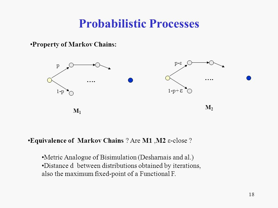 18 Probabilistic Processes Equivalence of Markov Chains ? Are M1,M2 ε-close ? Metric Analogue of Bisimulation (Desharnais and al.) Distance d between