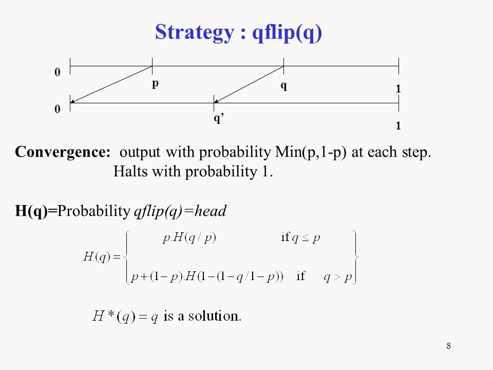8 Strategy : qflip(q) Convergence: output with probability Min(p,1-p) at each step. Halts with probability 1. H(q)=Probability qflip(q)=head p q 0 1 q