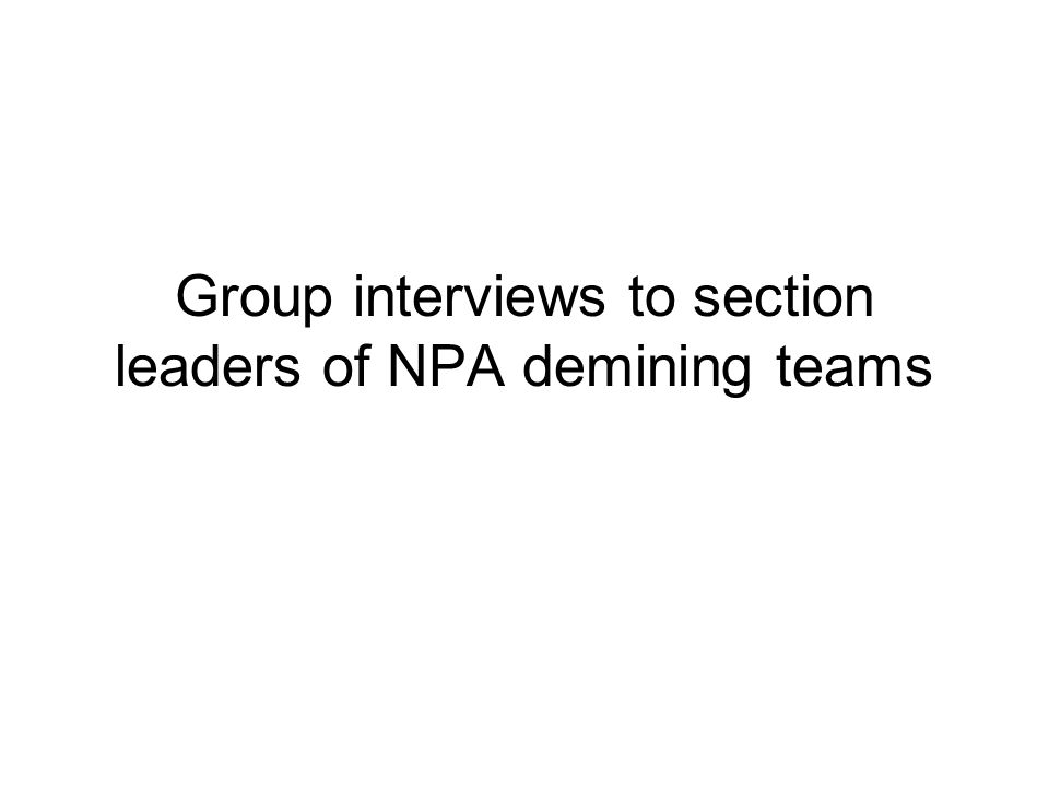 Group interviews to section leaders of NPA demining teams