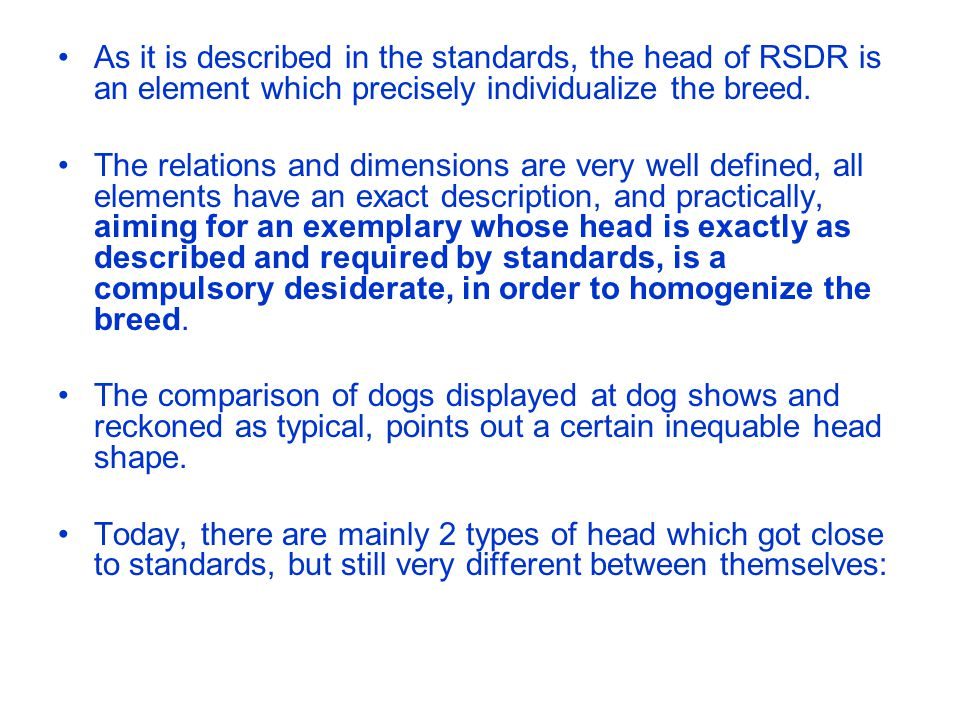 As it is described in the standards, the head of RSDR is an element which precisely individualize the breed.