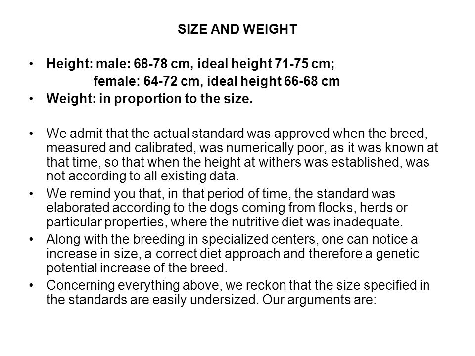 SIZE AND WEIGHT Height: male: 68-78 cm, ideal height 71-75 cm; female: 64-72 cm, ideal height 66-68 cm Weight: in proportion to the size.