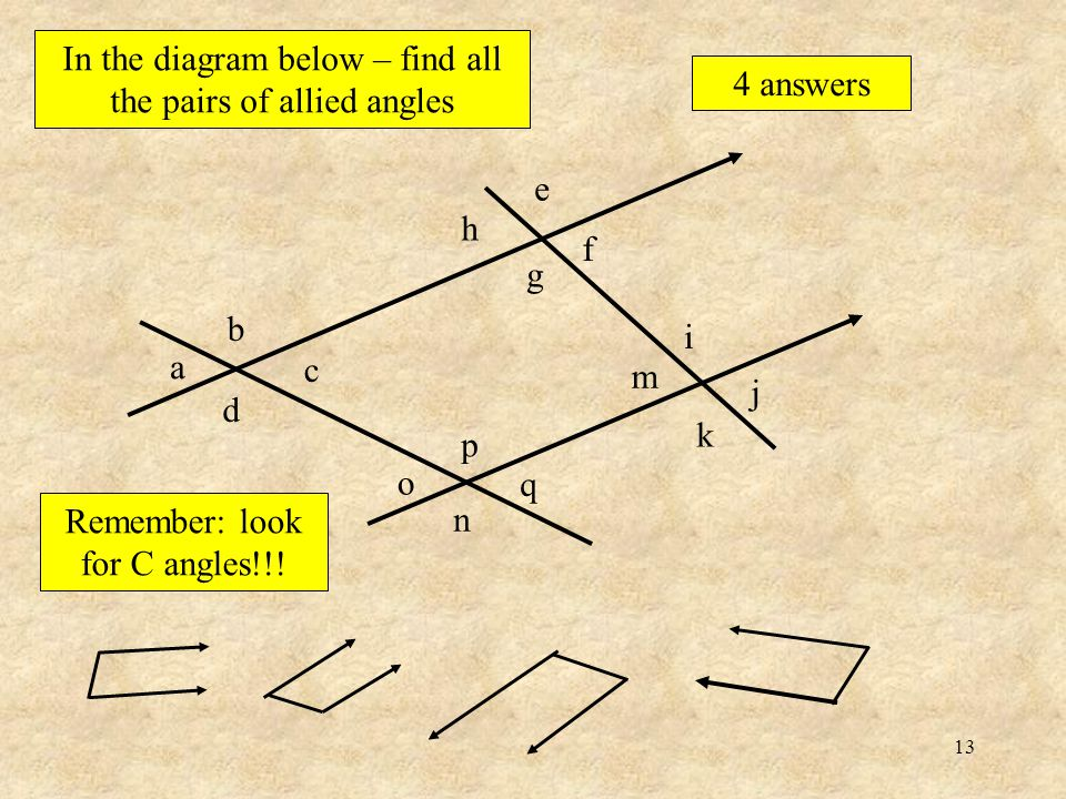 12 Here is a pair of angles that add up to 180º These are called allied angles ….