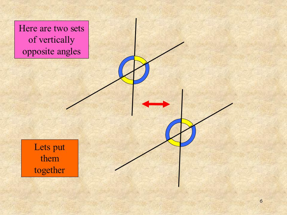 6 Here are two sets of vertically opposite angles Lets put them together