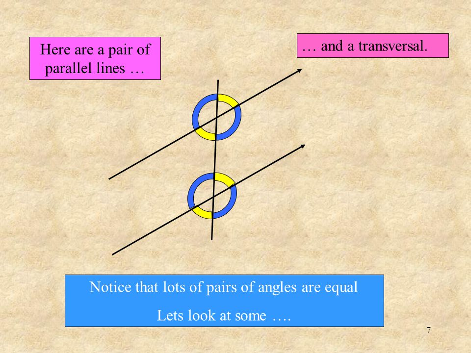 7 Here are a pair of parallel lines … … and a transversal.