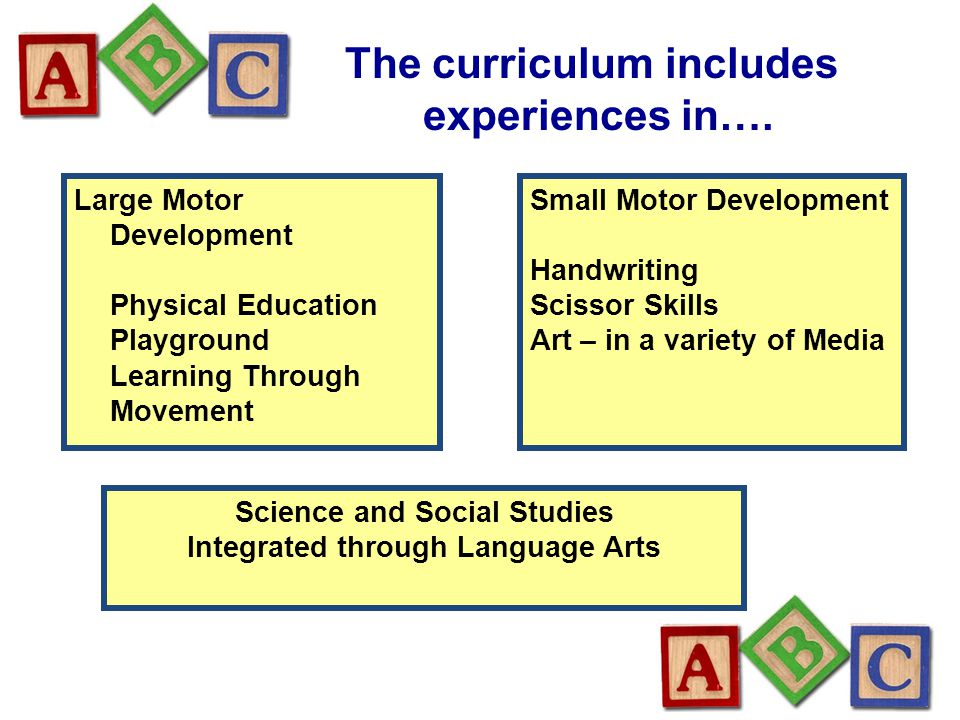 The curriculum includes experiences in…. Large Motor Development Physical Education Playground Learning Through Movement Small Motor Development Handw