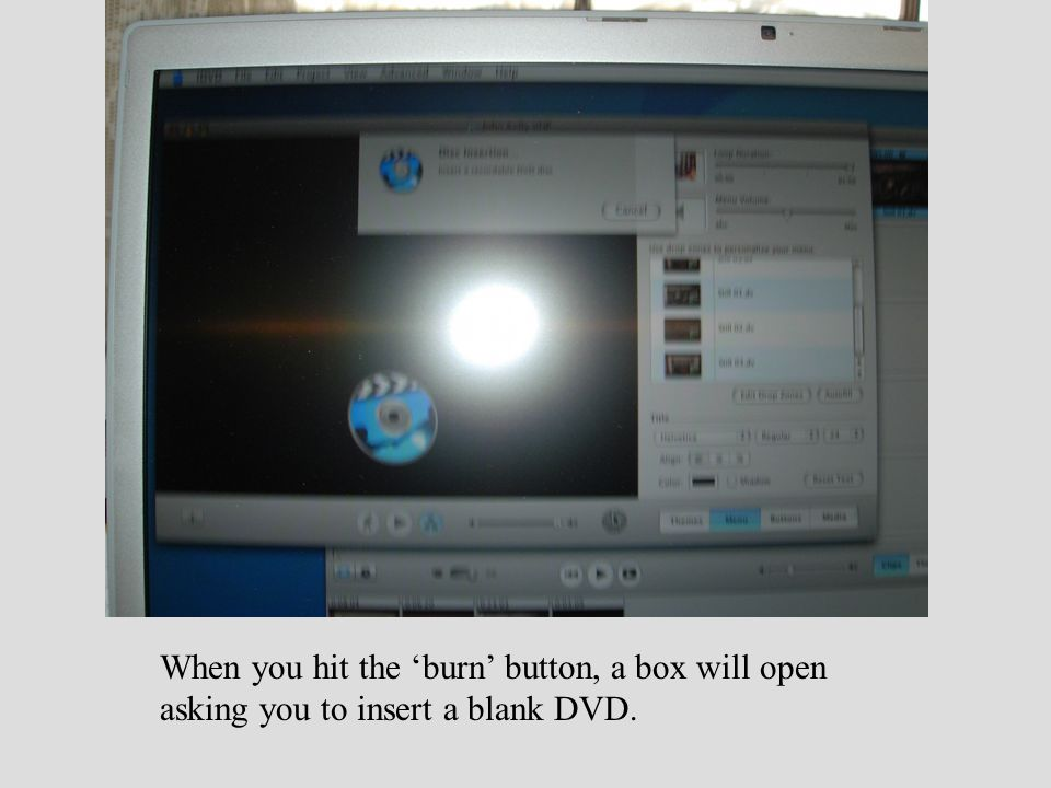 When you hit the 'burn' button, a box will open asking you to insert a blank DVD.