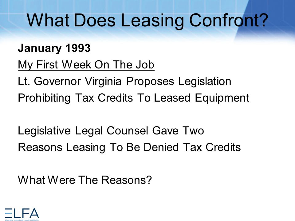 Why Would Virginia Lt.Gov. Deny Tax Credits To Leasing.