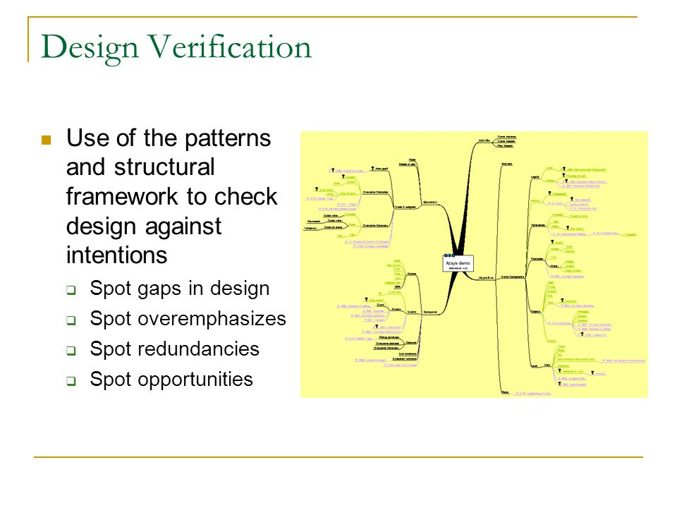 Design Verification Use of the patterns and structural framework to check design against intentions  Spot gaps in design  Spot overemphasizes  Spot redundancies  Spot opportunities