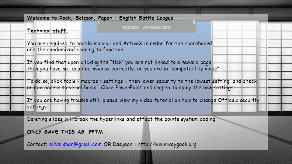 Welcome to Rock, Scissor, Paper : English Battle League.