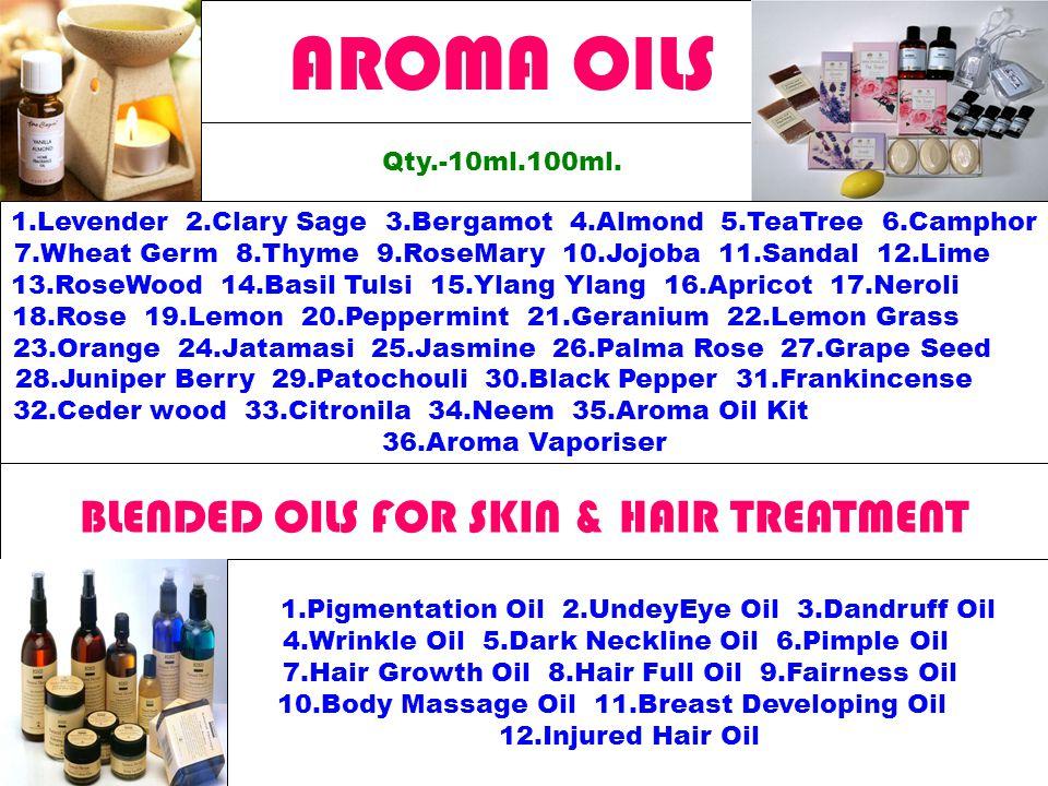 AROMA OILS Qty.-10ml.100ml.