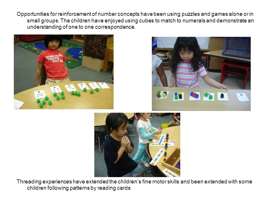 Opportunities for reinforcement of number concepts have been using puzzles and games alone or in small groups.