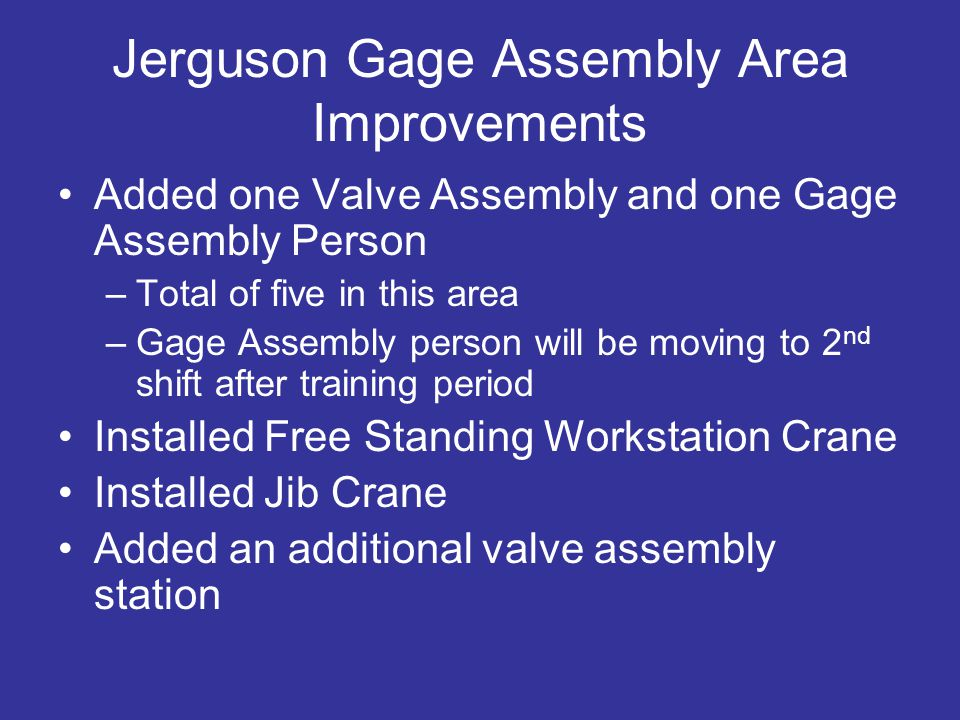 Jerguson Gage Assembly Area Improvements Added one Valve Assembly and one Gage Assembly Person –Total of five in this area –Gage Assembly person will be moving to 2 nd shift after training period Installed Free Standing Workstation Crane Installed Jib Crane Added an additional valve assembly station