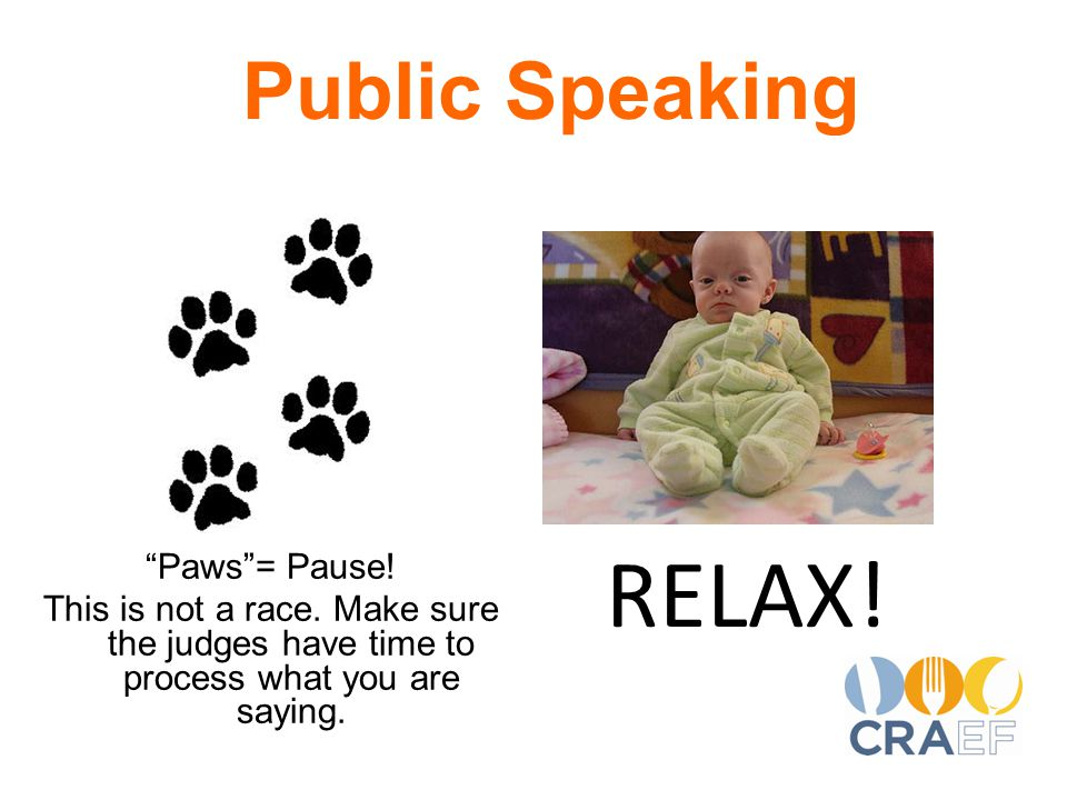 RELAX. Public Speaking Paws = Pause. This is not a race.