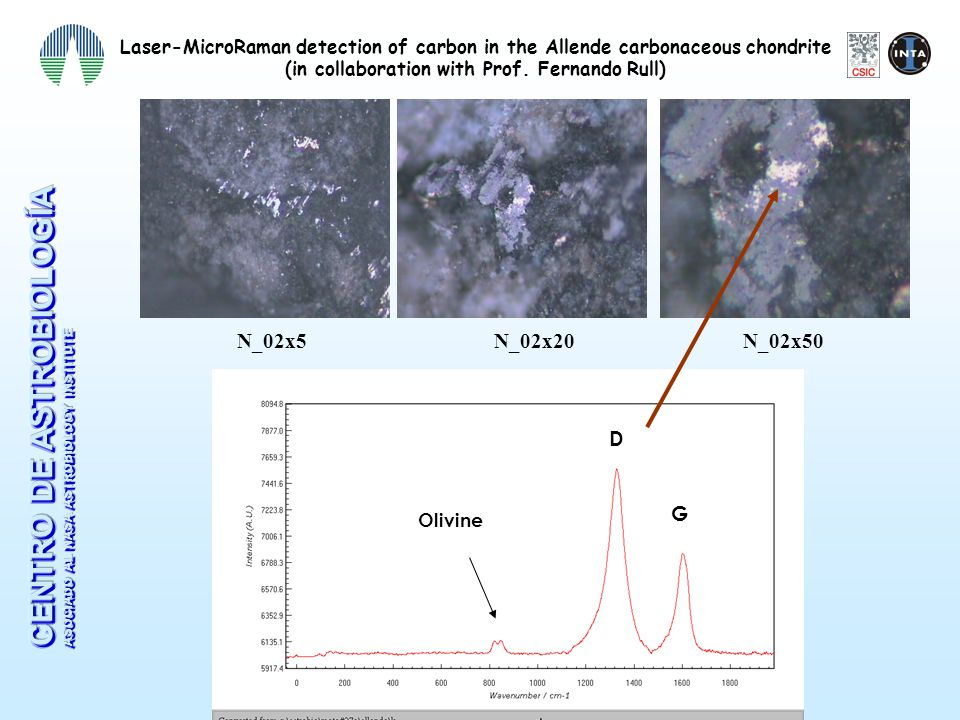 Detection of carbon by Laser-micro Raman in ordinary chondrites (in collaboration with Mª J.