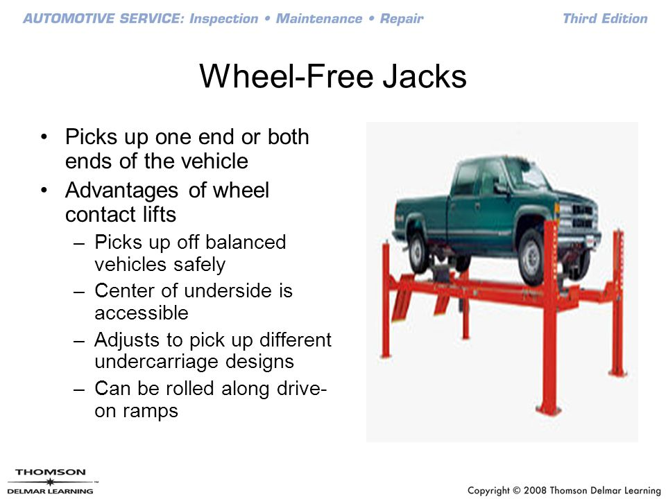 Picks up one end or both ends of the vehicle Advantages of wheel contact lifts –Picks up off balanced vehicles safely –Center of underside is accessib