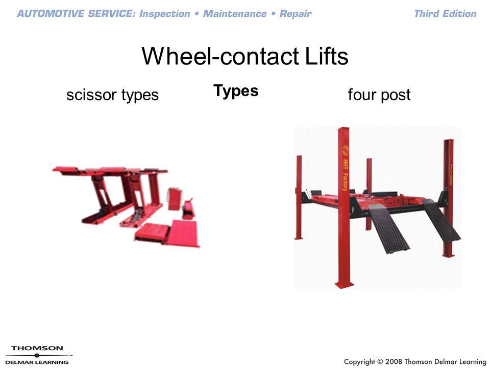 Wheel-contact Lifts Types four postscissor types