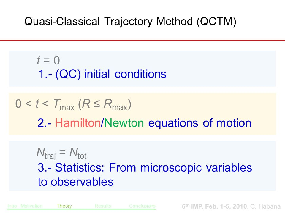 0 < t < T max (R ≤ R max ) 2.- Hamilton/Newton equations of motion N traj = N tot 3.- Statistics: From microscopic variables to observables Quasi-Classical Trajectory Method (QCTM)‏ t = 0 1.- (QC) initial conditions Intro Motivation Theory Results Conclusions 6 th IMP, Feb.