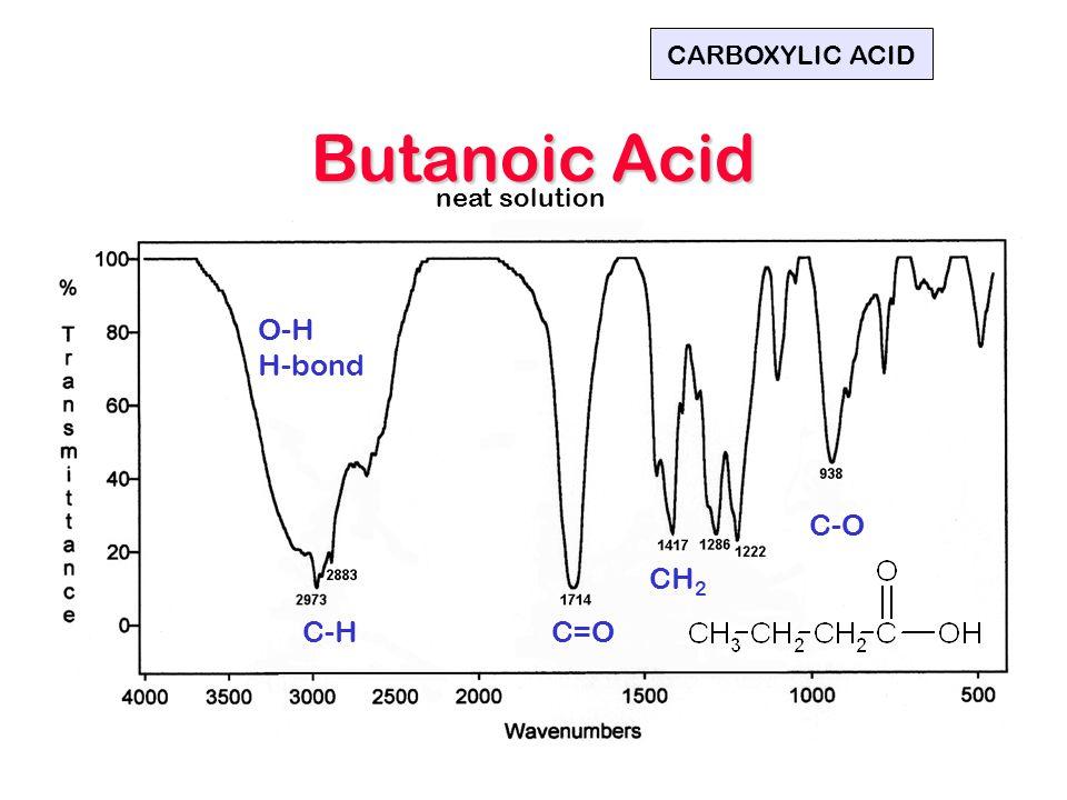 Butanoic Acid O-H H-bond C-HC=O CH 2 C-O CARBOXYLIC ACID neat solution