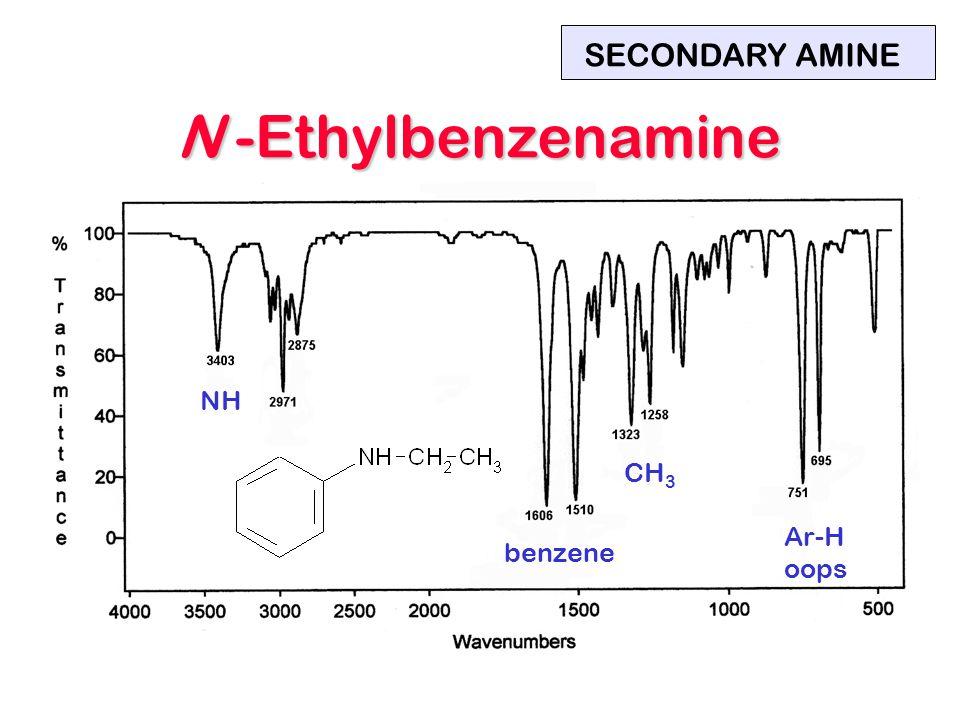 NH benzene Ar-H oops CH 3 SECONDARY AMINE N -Ethylbenzenamine