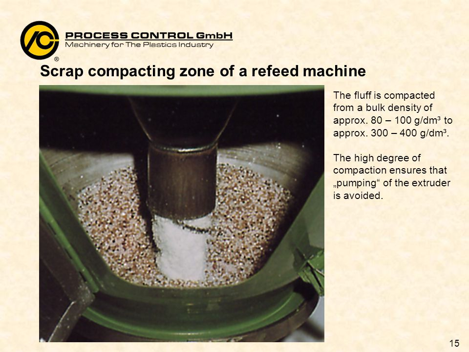 15 Scrap compacting zone of a refeed machine The fluff is compacted from a bulk density of approx.