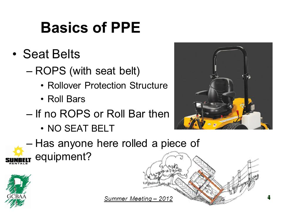 Summer Meeting – 2012 Training for PPE Any and all equipment training should include PPE –When to use it.