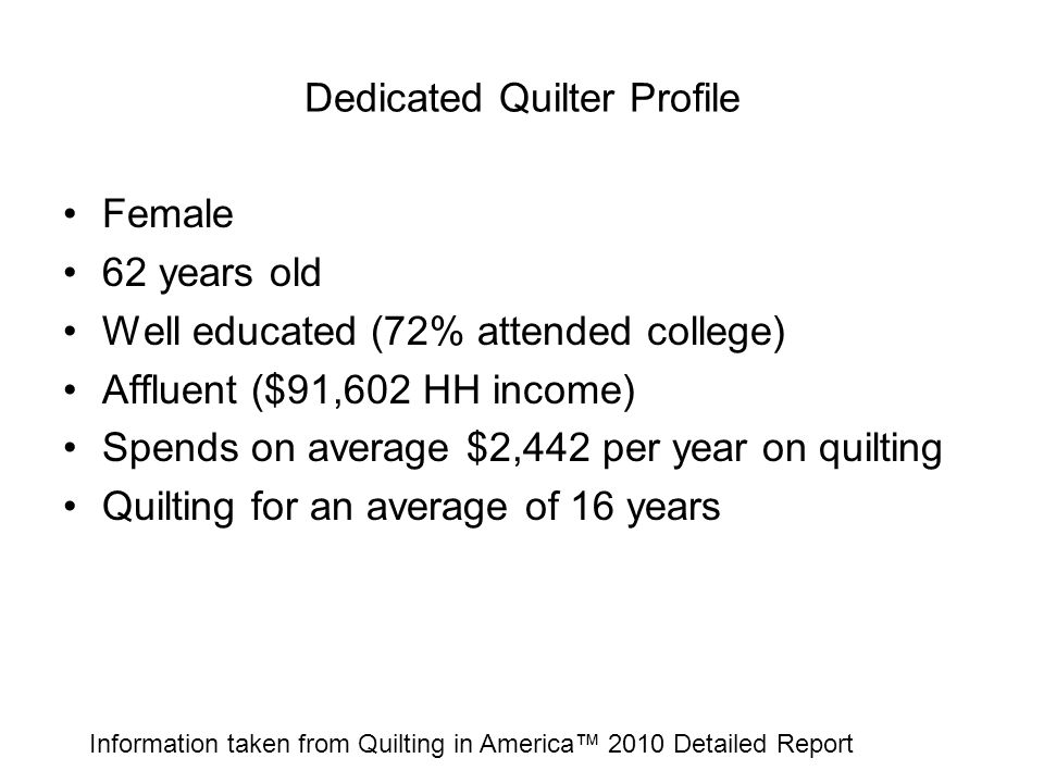 Dedicated Quilter Profile Female 62 years old Well educated (72% attended college) Affluent ($91,602 HH income) Spends on average $2,442 per year on q