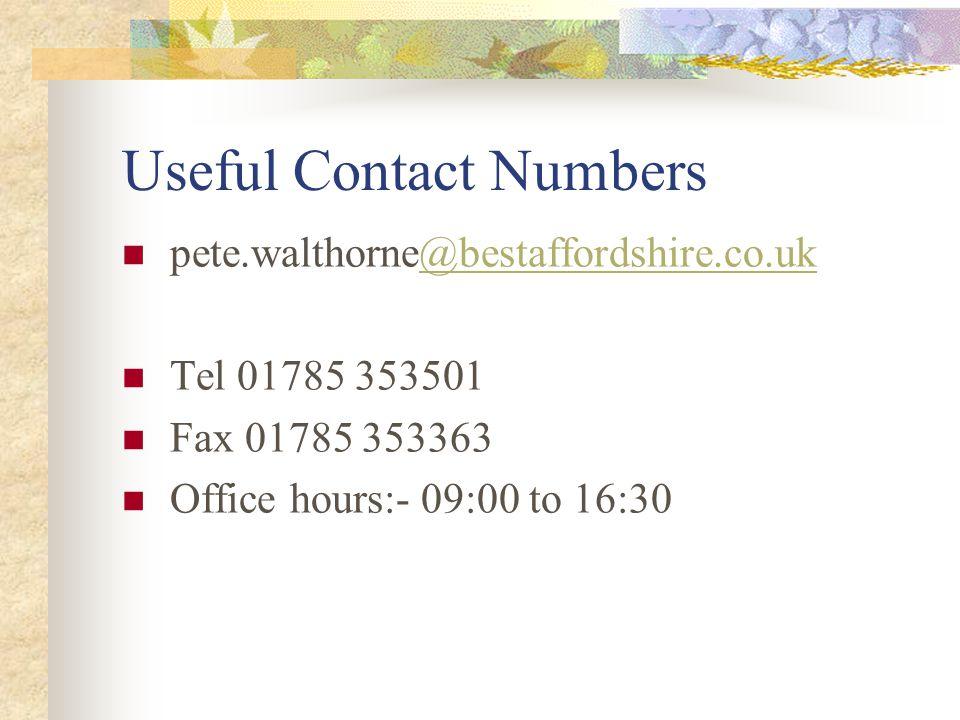 Useful WEB addresses www.hse.gov.uk www.staffordshirefire.gov.uk www.fire.gov.uk.workplace+safety www.communities.gov.uk