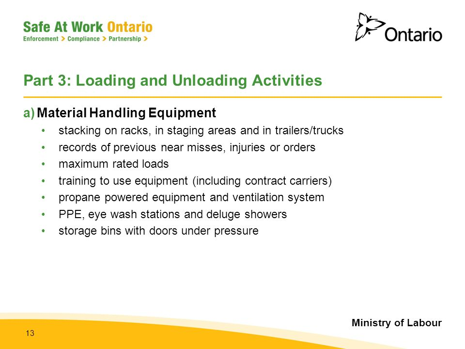 Ministry of Labour 13 Part 3: Loading and Unloading Activities a)Material Handling Equipment stacking on racks, in staging areas and in trailers/truck