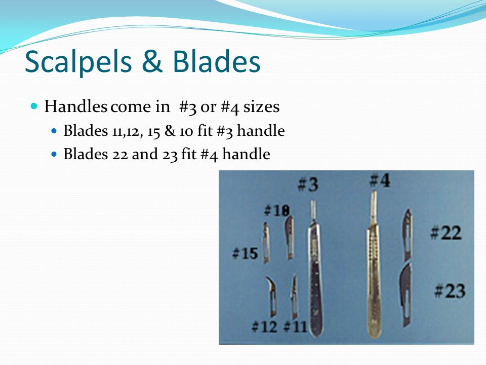 Scalpels & Blades Handles come in #3 or #4 sizes Blades 11,12, 15 & 10 fit #3 handle Blades 22 and 23 fit #4 handle