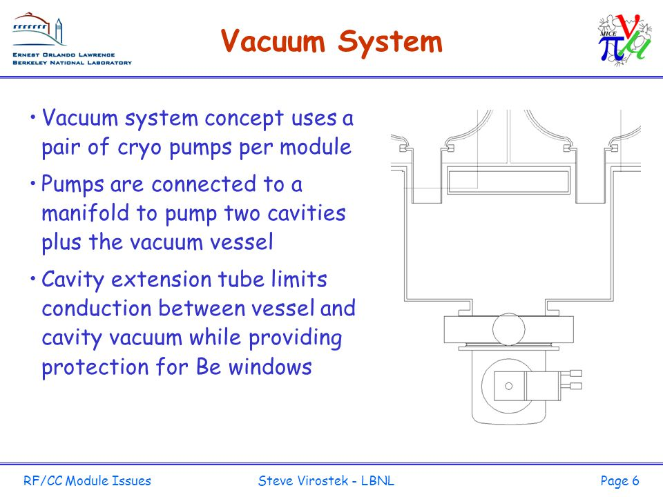 RF/CC Module Issues Steve Virostek - LBNLPage 6 Vacuum System Vacuum system concept uses a pair of cryo pumps per module Pumps are connected to a manifold to pump two cavities plus the vacuum vessel Cavity extension tube limits conduction between vessel and cavity vacuum while providing protection for Be windows