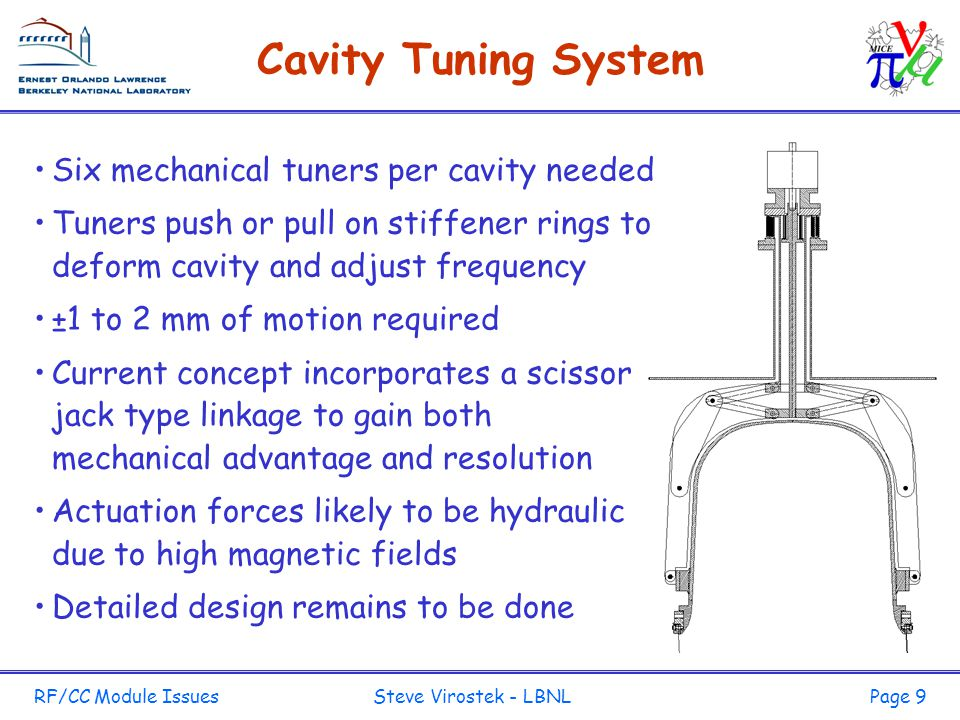 RF/CC Module Issues Steve Virostek - LBNLPage 9 Cavity Tuning System Six mechanical tuners per cavity needed Tuners push or pull on stiffener rings to deform cavity and adjust frequency ±1 to 2 mm of motion required Current concept incorporates a scissor jack type linkage to gain both mechanical advantage and resolution Actuation forces likely to be hydraulic due to high magnetic fields Detailed design remains to be done