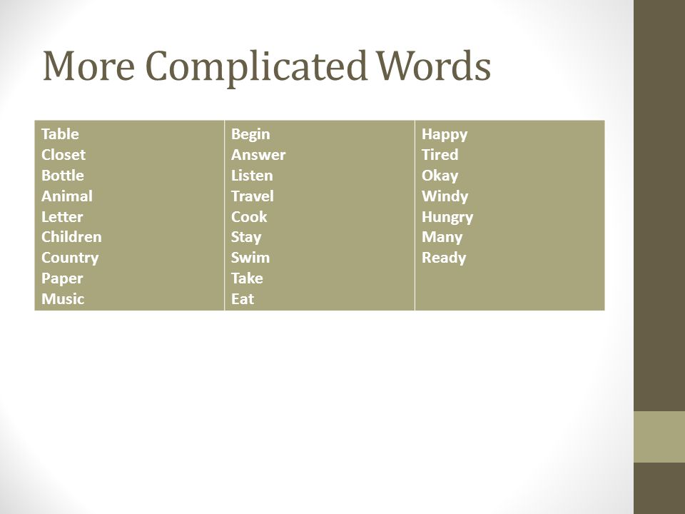 More Complicated Words Table Closet Bottle Animal Letter Children Country Paper Music Begin Answer Listen Travel Cook Stay Swim Take Eat Happy Tired O