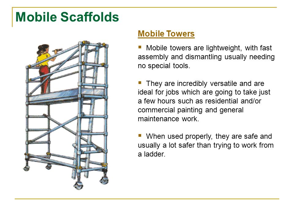 Scaffold casters and wheels shall be locked with positive wheel and/or wheel and swivel locks, or equivalent means, to prevent movement of the scaffold while the scaffold is used in a stationary manner.