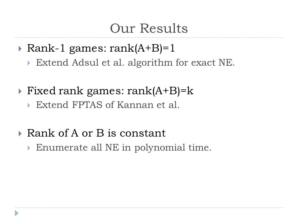 Our Results  Rank-1 games: rank(A+B)=1  Extend Adsul et al.