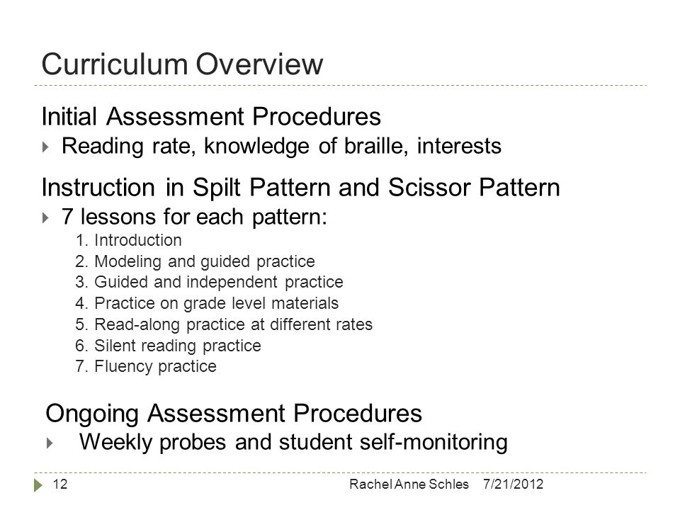 Curriculum Overview 7/21/2012Rachel Anne Schles12 Initial Assessment Procedures  Reading rate, knowledge of braille, interests Instruction in Spilt Pattern and Scissor Pattern  7 lessons for each pattern: 1.