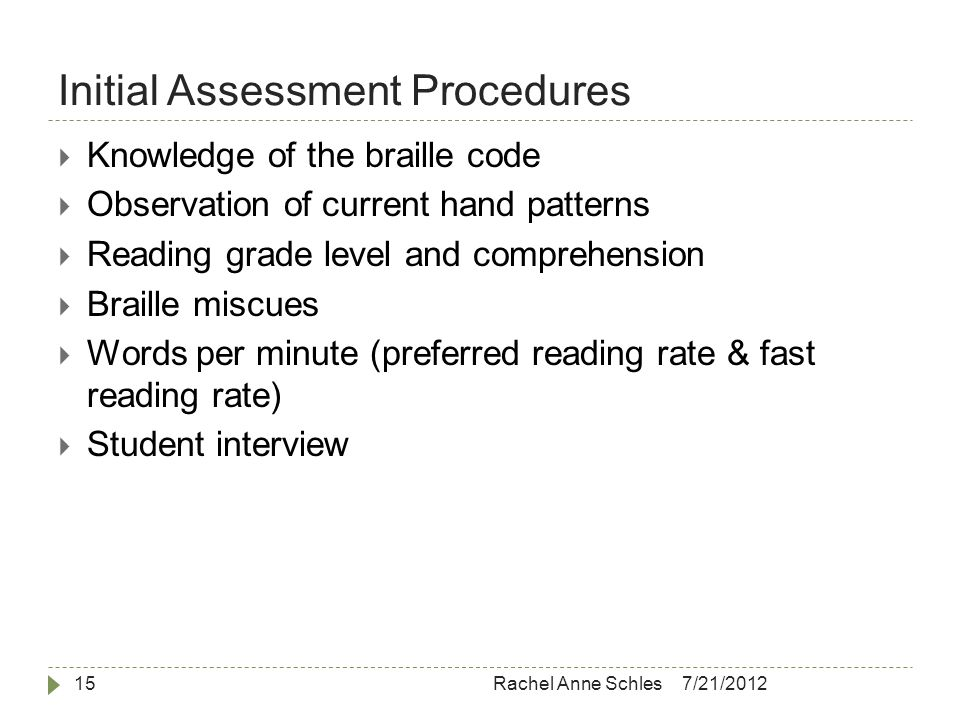 Initial Assessment Procedures 7/21/2012Rachel Anne Schles15  Knowledge of the braille code  Observation of current hand patterns  Reading grade level and comprehension  Braille miscues  Words per minute (preferred reading rate & fast reading rate)  Student interview