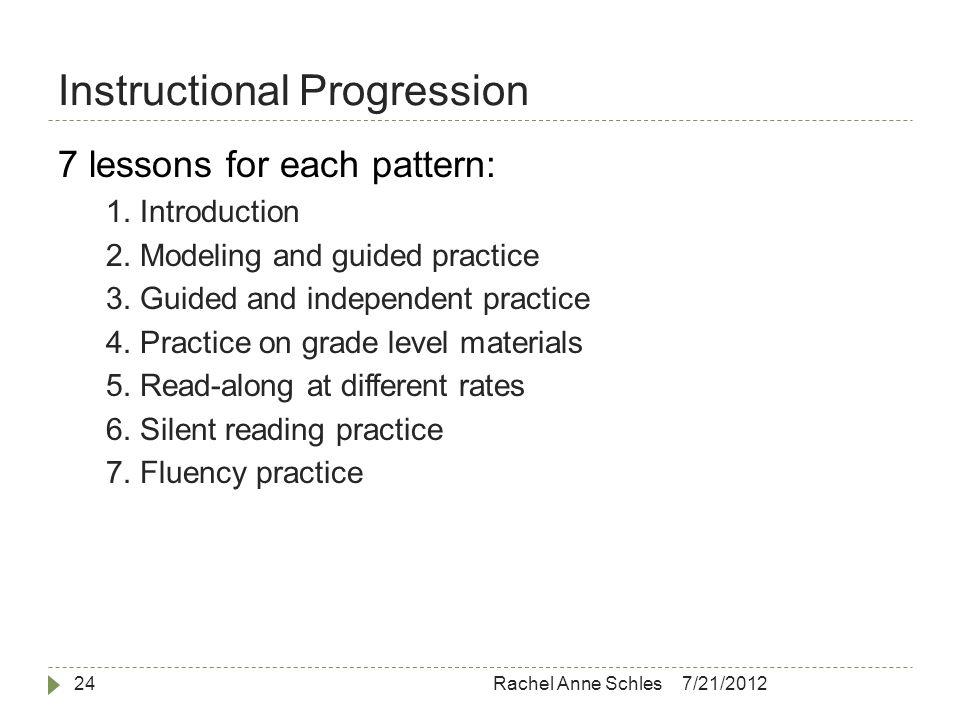 Instructional Progression 7/21/2012Rachel Anne Schles24 7 lessons for each pattern: 1.